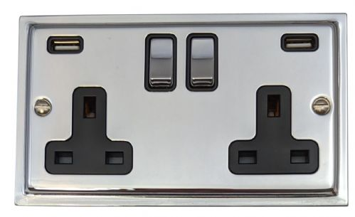 G&H TC3910 Trimline Plate Polished Chrome 2 Gang Double 13A Switched Plug Socket 2.1A USB